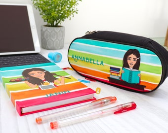 Personalised Character Journal and Pencil Case Set - Stationery Bundle for Kids - Birthday Gift for Boys and Girls - Cute School Supplies