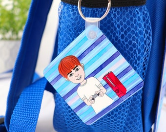 Create Your Own School Bag Tag - Personalised Cute Keyring for Girls and Boys - Starting School Gift - First Day at School Present