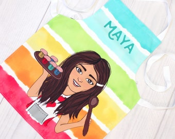 Personalised Children Apron with Adjustable Neck Strap - Customise Your Character Kids Art Apron - Apron with Name