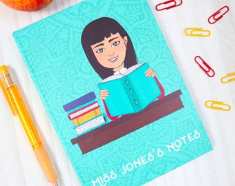 Cute Personalised Notebook for Teacher - Teacher Thank You Gift from Student - Customised School Leaving Gift
