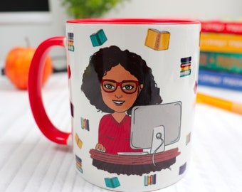 Personalised Cartoon Mug for Teacher - Cute Teacher Appreciation Gift - Customised Thank You End of Year Gift - Unique Teacher Cup