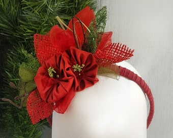 Christmas hat with leather flowers and jewels Fascinator in leather Holiday Party Hat Poinsettia flower Leather Christmas Fascinator