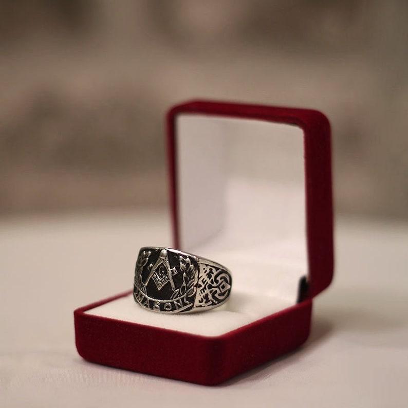 Wreath White Gold masonic lodge rings Silver Any Sizes Square and Compass masonic rings Yellow Gold Freemason Masonic Ring