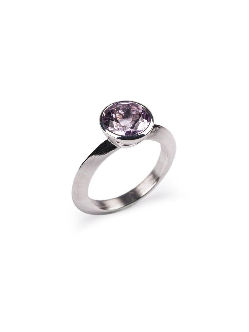 Silver Ring with Purple Amethyst Gemstone