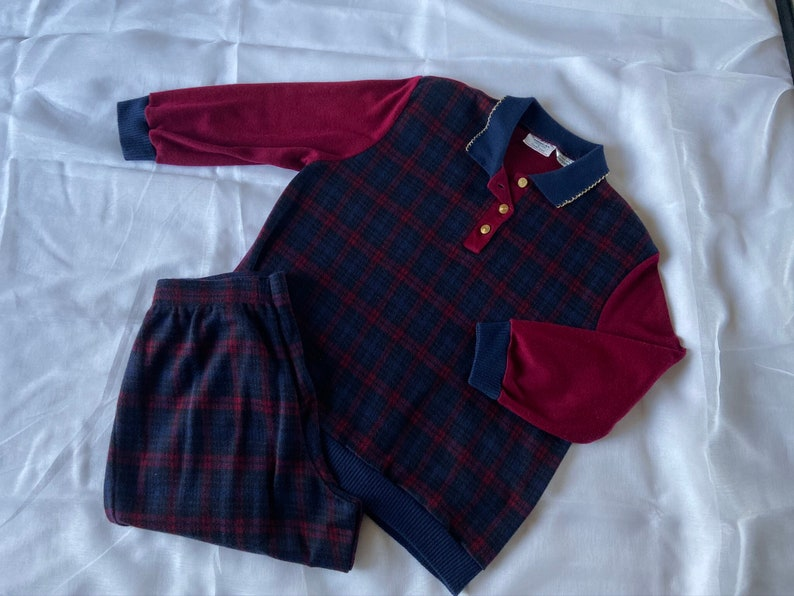 RedBlue plaid \u201cThe American Collection by Cricket Lane\u201d Designer Size 14P Vintage 1980s loungewear set