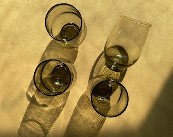 Green glass drinking glasses, set of 4