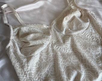 Vintage designer rose print bodysuit, cream, 36B