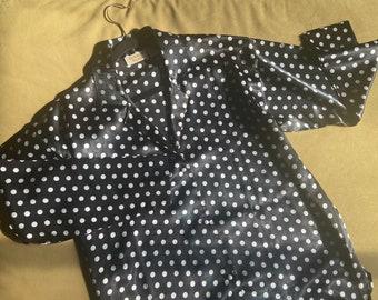 Vintage Victoria's Secret satin shirt, satin pj top, black and white polka dot, faux pearl buttons, size p