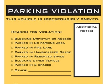 image about Printable Bad Parking Notes named Yourself suck at parking Etsy