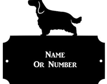 Cocker Spaniel Dog Metal Oval House Plaque