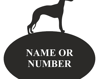Whippet Oval House Plaque - Personalised Black Metal House Sign