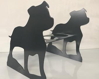 Staffordshire Bull Terrier Garden Planter - Metal Outdoor Black Garden Ornament