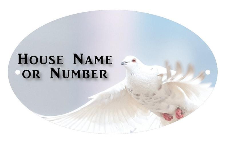 White Dove UV Printed Metal House Plaque