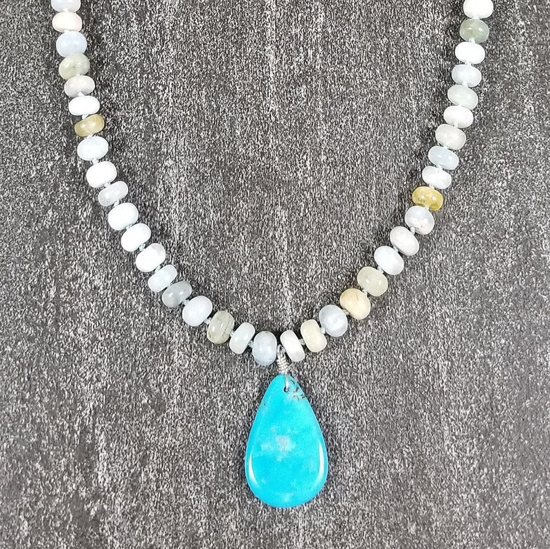 Turquoise Teardrop on Aquamarine Necklace