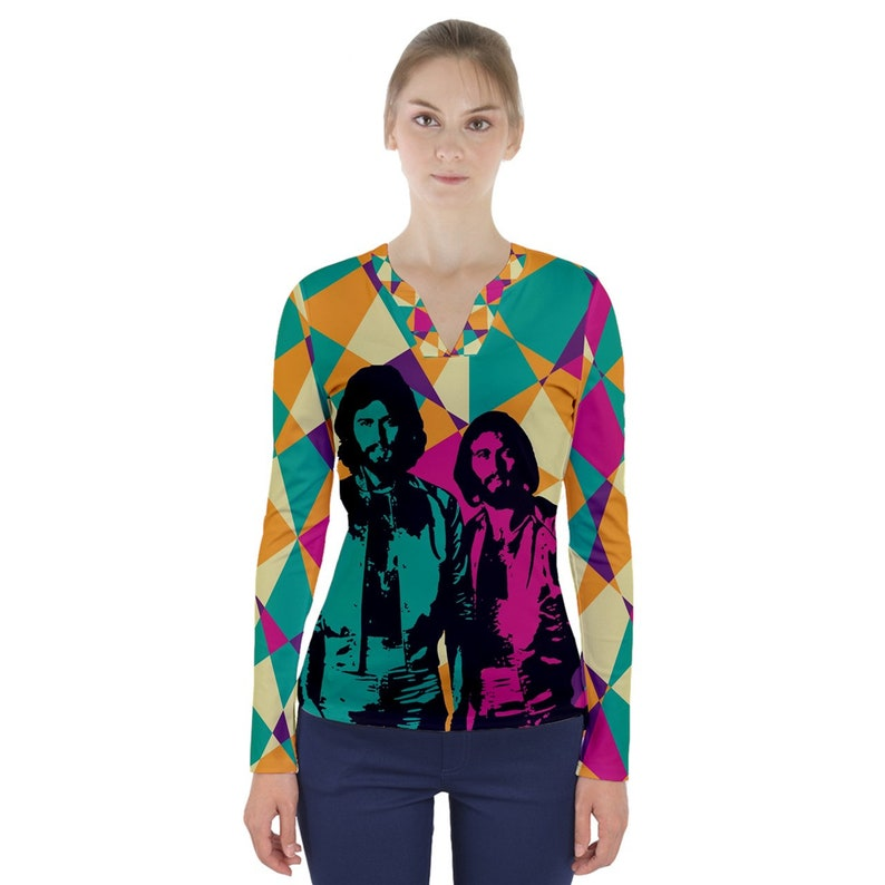 bee gees how deep is your love V-Neck Long Sleeve Top