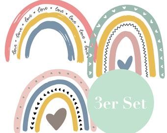 Plotter file rainbow as a set of 3 in Scandinavian design   SVG DXF Cut File   Plott   Baby and children   Everything will   well Dear   Heart