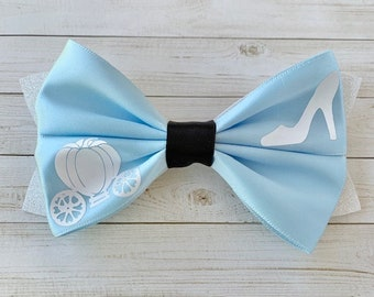 Blue Cindy Inspired Hair Bow with Carriage Charm