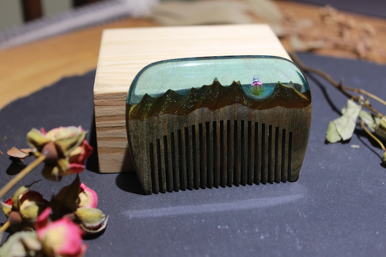 Mountains and Swan Hair Accessories Handmade Comb Wood Resin Hair Comb Pocket Comb Unique Gift