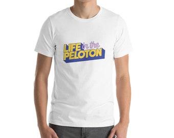 Life in the Peloton Logo Cycling T-Shirt - White Yellow Blue