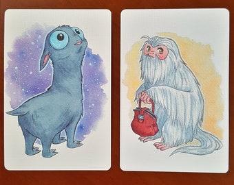 FANTASTIC BEASTS PRINT - Mooncalf - Demiguise - Mini print Mooncalf - Mini print Demiguise - Postcard Fantastic Beasts - Harry Potter