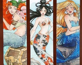 BOOKMARKS MERMAIDS - Bookmark mermaid - Pirate mermaid - Koi Japanese Mermaid - Blonde mermaid - Fantastic creatures - Mermaid illustration