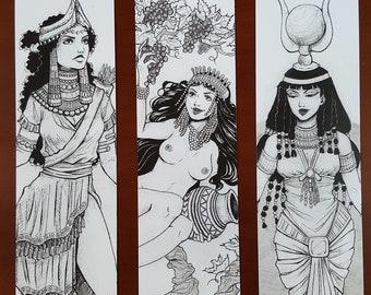 BOOKMARKS GODDESS - Bookmark Ancient Goddess - Inanna - Siduri - Hathor - Mythology - Goddess Illustration - Egypt - Mesopotamia - Goddesses