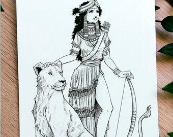 GODDESS INANNA PRINT - Sumerian Goddess - Ancient Goddess - Mitology - Inanna - Mesopotamia - Sumerian Mitology - Illustration