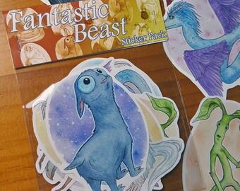 FANTASTIC BEASTS STICKERS - Fantastic beasts - Mooncalf - Occamy - Niffler - Demiguise - Bowtruckle - Pickett- Newt Scamander - Harry Potter