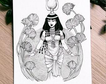 GODDESS HATHOR PRINT - Egyptian Goddess - Ancient Goddess - Mitology - Hathor - Egypt - Egyptian Mitology - Illustration - Egyptian Gods