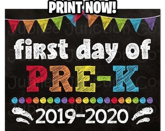 photo relating to First Day of Pre K Sign Printable titled Initially working day of pre k Etsy