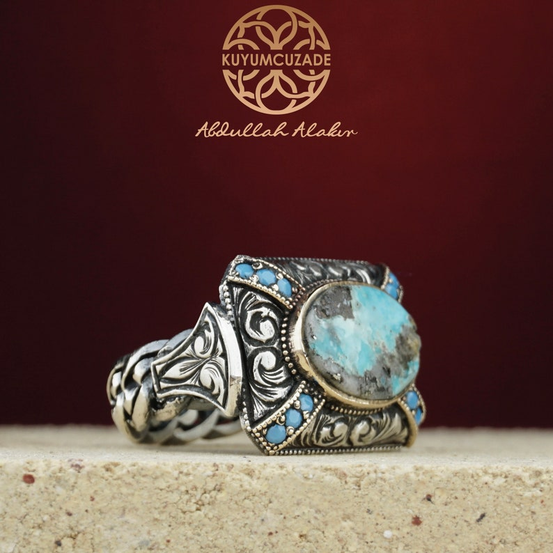 Men/'s Classic Mens 925 K silver Signet Ring Classic Vintage Blue Created-Turquoise  Turquoise Fashion Ring  Fashion Jewelry  Ring