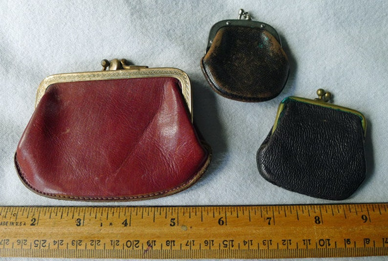 Lot of 3 Vintage Antique Leather Coin Purses