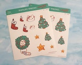 Natsukii Meowz Christmas Planner Stickers - Cute Christmas Cats - Kawaii Flower Kitten XMAS