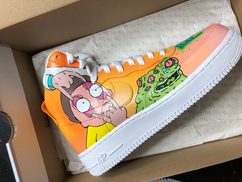 official images dirt cheap official supplier Custom Rick and Morty Nike Air Force 1