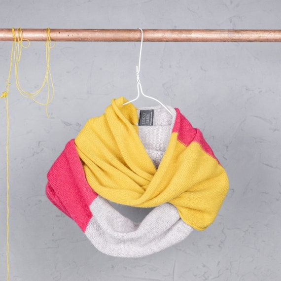 Colour block, double wrap snood, Light grey, hot pink and piccalilli circle scarf, Handmade lambswool snood, Accessories