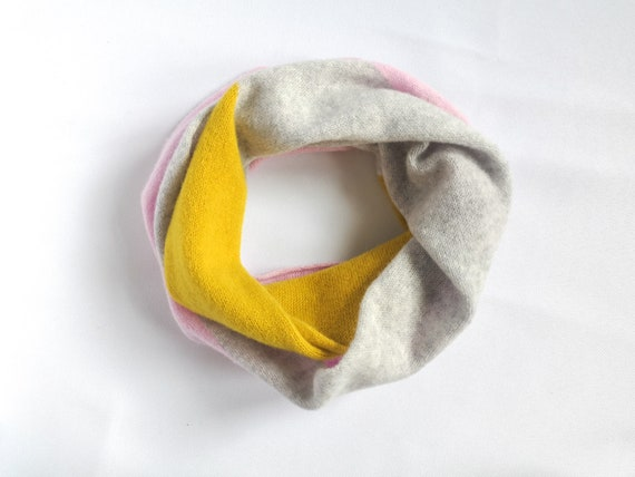 Intarsia double wrap snood, Light grey, piccalilli and pink circle scarf, Handmade lambswool snood, Accessories