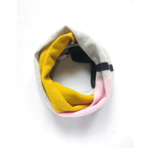 Intarsia double wrap snood, Light grey, piccalilli, pink and charcoal circle scarf, Handmade lambswool snood, Accessories