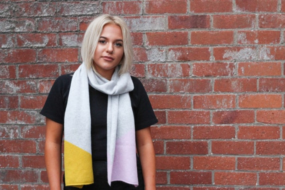Intarsia block scarf, Light grey, piccalilli and pink lambswool scarf, Colour block knitted accessorie