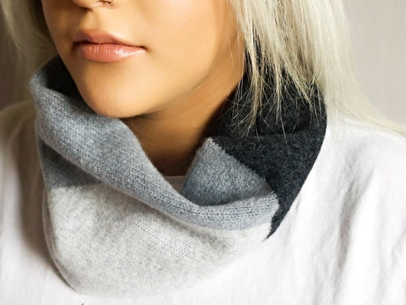 Intarsia snood, Charcoal, Seal and light grey snood, Circle scarf, Block colour snood, Lambswool snood, Knitted accessories