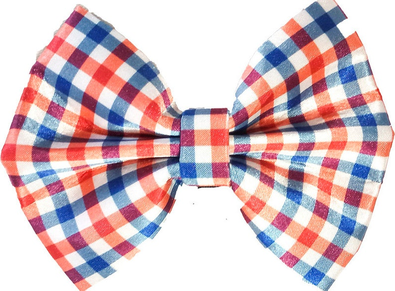 Attaches with Hook and Loop. Red White and Blue Plaid Check Bow tie for Dogs