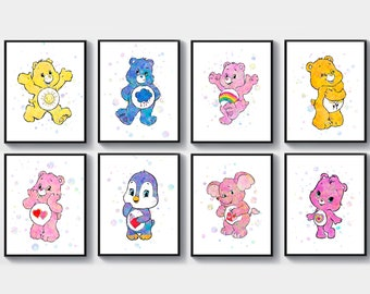 picture relating to Care Bear Belly Badges Printable identify Treatment bears nursery Etsy