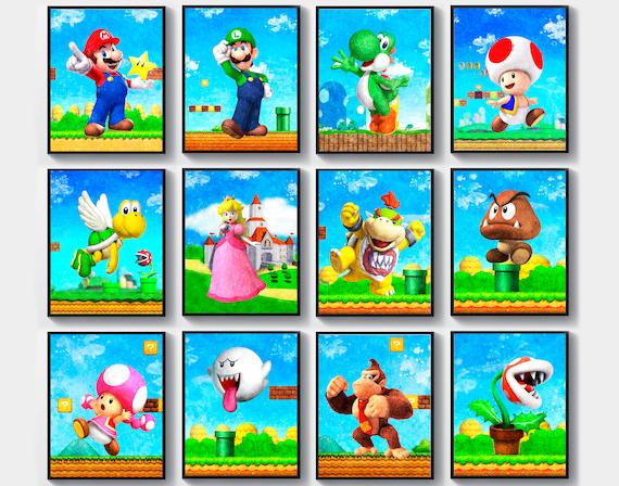 Super Mario Decor Mario Nintendo Art Luigi Watercolor Yoshi Etsy