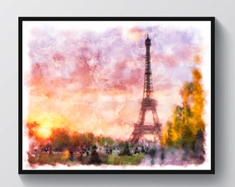 Sunset in Paris Art French Watercolor Landscape Painting Eiffel Tower Print Champs Elysees Wall Decor Travel Poster Home Decor