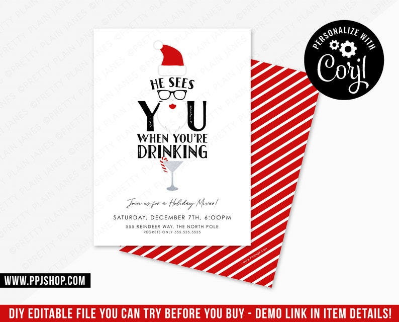 Fun Christmas Party Invitation He Sees You Drinking Etsy