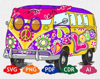 1d0d1423ab507 Hippie van svg   Etsy