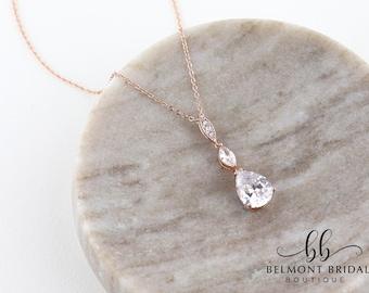 Rose Gold Necklace | Bridal Necklace | Cubic Zirconia Necklace | Drop Necklace | Bridesmaid Necklace | Bridal Accessories | PAI