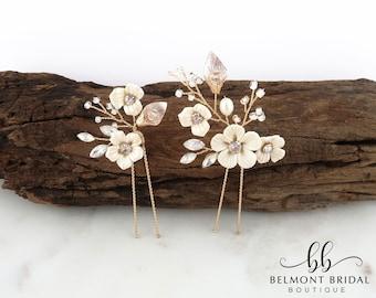 Wedding Hair Pins | Clay Flower Hair Piece | Gold Leaf Hair Pins | Wedding Headpiece | Floral Hair Pins | Hair Pins for Wedding | HANOI