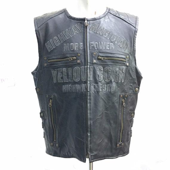 Yellow Corn Leather Sleeveless Jacket