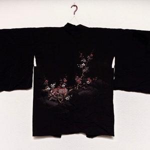 vintage Japanese Michiyuki Cardigan For Her 190620-06 Dress Silk Flower Abstract Shibori Pattern Kimono Outer Jacket