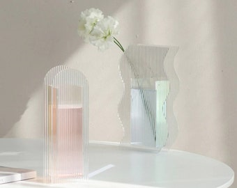Iridescent Glass Flower or Candle Vase